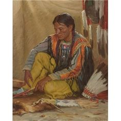 Artwork by Joseph Henry Sharp, The War Chief's Son, Made of  oil on canvas kp