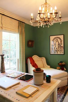 Office - window treatments, intriguing paint color, and...may I please have that chaise?