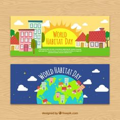 Banners of world habitat day with cities Free Vector