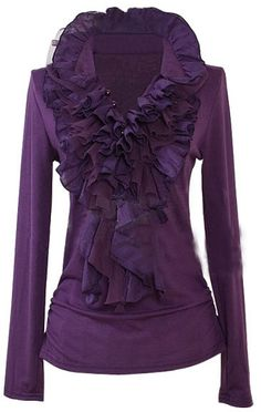 New Ruffle Pleated Grey Jacket Dress Blouse Shirt Top - Love this for fall! Purple Love, All Things Purple, Shades Of Purple, Purple Stuff, Purple Rain, Dark Purple, Grey Shirt Dress, Jacket Dress, Dress Shirts