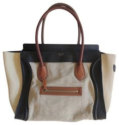 Celine Tri-Color Leather Luggage Tote Bag www.fullcirclefashion.com