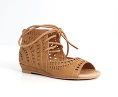 Soda Shoes Yorky Lace Up Sandals for Girls in Tan YORKY-IIS-TAN