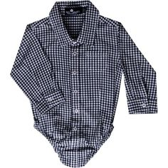 Troy James Boys Black and White Gingham Onesie, 3-6 Months