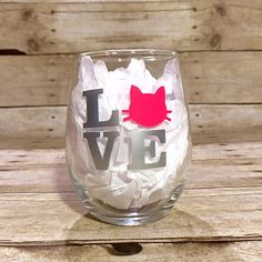 LOVE Cat Themed Stemless Wine Glass by HenryAndPenny on Etsy