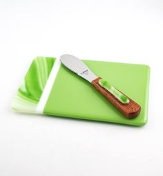 Apple Green Fused Glass Platter Cheese Board Set by Nostalgianmore