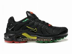 Nike Air Max Tn/Tuned Requin 2013 Chaussures de Basletball Pas Cher (Taille Homme) Noir/Jaune/Vert/Rouge