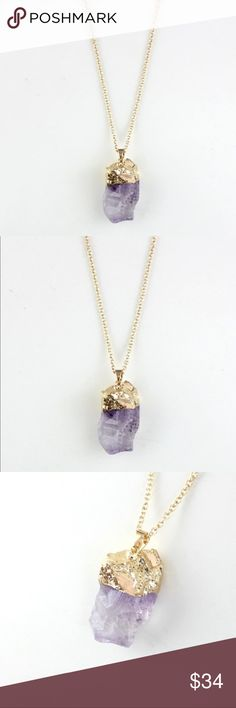 Amethyst Chakra w Gold Pendant Beautiful Raw Stone New Amethyst w Gold Pendant Beautiful Raw Stone. 30.5 + 2 inch chain. New in package. Jewelry Necklaces