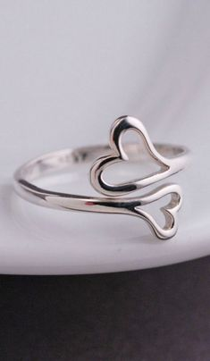 Personalized Jewelry Double Heart Ring – Love, Georgie - This heart ring is sterling silver and fits most! Adjusts from approximately a size 6 to a size Ready to ship and perfectly pairs with all of our personalized jewelry. Cute Rings, Unique Rings, Beautiful Rings, Diamond Jewelry, Silver Jewelry, Diamond Earrings, Silver Earrings, Dainty Earrings, Heart Jewelry