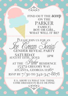 @Christina Childress Piazza - For the next shower for church if the couple doesn't want to find out!!!! :-) Ice Cream Social Gender Reveal Invitations