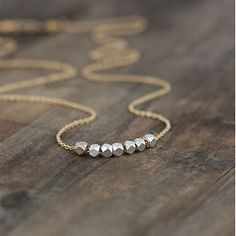 Silver Nuggets Gold Necklace / Mixed Metals / 14K Gold