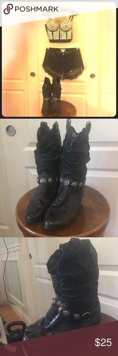 Vintage Black Cowboy Cowgirl Boots 8.5 Women's These are amazing vintage boots. I like to call them Bon Jovi boots, because they remind me of something Jon Bon Jovi would have worn back in the day. denim republic Shoes Ankle Boots & Booties