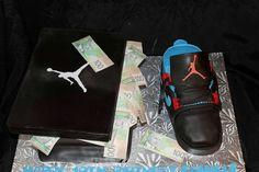 Air jordans with shoebox full of money cake