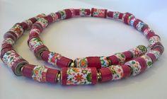 #Paperbead #Jewelry Joyful flowery Paper bead #necklace  #Handmade paper bead jewelry  by GlossyPapierRecy on Etsy