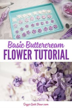 Easy buttercream flowers for the ultimate beginner! How to mix your buttercream, what tools to use and how to pipe a simple 5 petal buttercream flower! Buttercream Flowers Tutorial, Easy Buttercream Frosting, Frosting Flowers, Buttercream Flower Cake, Frosting Tips, Fondant Rose, Fondant Baby, Fondant Flowers, Fondant Cakes