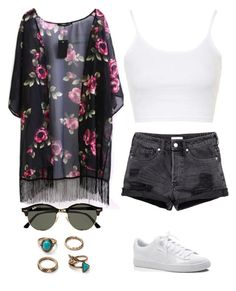 """""""☀️"""" by anoukvos ❤ liked on Polyvore featuring Topshop, Puma and Ray-Ban"""