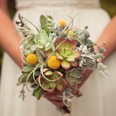 non flowery flowers and succulents- add a bit of green, white clematis, scabiosa pods and lavender, take out the air plants and dusty miller foliage- similar to this guy though
