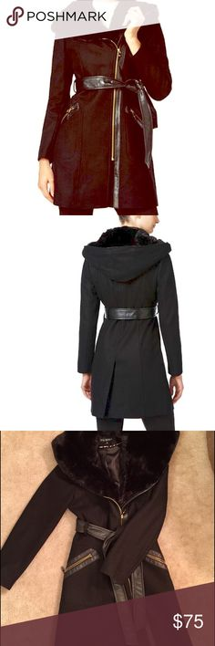 """Via Spiga Mixed media walker coat Via Spiga Mixed media wool walker coat with faux leather trim. Faux fur hood. Hits mid thigh approx 35"""" long. Wool Blend. Worn a handful of times. It's on sale now at Macys for $189. I paid $199 earlier this year. No trades and price firm! Via Spiga Jackets & Coats"""