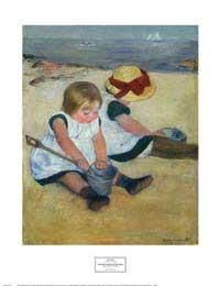 """""""Children Playing on the Beach"""" by Mary Cassatt - Beach and Coastal Views posters and prints available at Barewalls.com"""