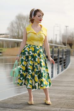 Outfit: bananas for bananas Pin Up Outfits, Indie Outfits, Cute Casual Outfits, Skirt Outfits, Fashion Outfits, Fashion Clothes, Printed Skirt Outfit, Print Skirt, Style Retro