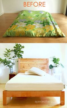 How to build beautiful $100 easy DIY bed frame & wood headboard with natural finishes & $1500 look! Best tips & free plan for king, queen & full bedframes! - A Piece of Rainbow #diybeds #diybed #bedroom #bed #diy #furniture #woodworkingprojects woodworking plans, #apieceofrainbow #diy #homedecor #hacks bedroom ideas, #farmhouse farmhouse decor, west elm, pottery barn, anthropologie Diy Bed Frame Plans, Diy King Bed Frame, Bed Frame And Headboard, Wood Headboard, Fabric Headboards, Upholstered Headboards, Lit Plate-forme Diy, Furniture Plans, Diy Furniture