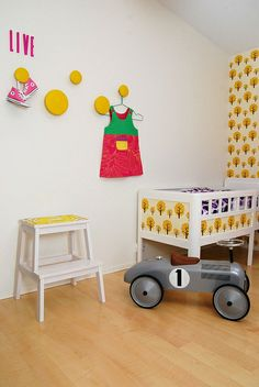 Nursery with Ferm wallpapered crib via Beatriz's Flickr - Photo Sharing!