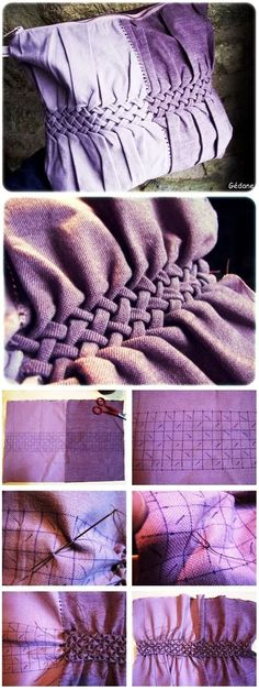So pretty . One day I'll be able to make this Pillow - Sewing Technique to ''weave fabric'' So pretty . One day I'll be able to make this Pillow - Sewing Technique to ''weave fabric'' Sewing Hacks, Sewing Tutorials, Sewing Crafts, Sewing Projects, Sewing Tips, Techniques Couture, Sewing Techniques, Smocking Patterns, Sewing Patterns