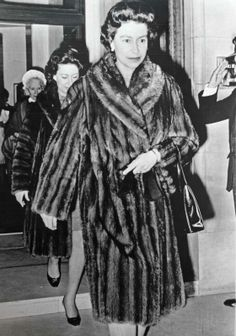 Queen Elizabeth and Princess Margaret leave King Edward's hospital after visiting Queen Mother Elizabeth Christmas Day December 25th, 1966
