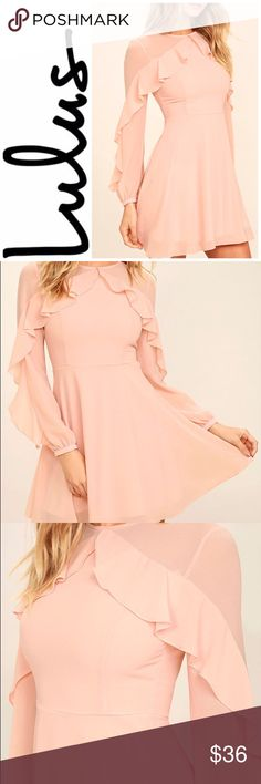 Pinknic Perfect! | 💝 The Quiet Grace Blush Pink Long Sleeve Dress speaks volumes without saying a word! Woven poly forms a rounded neckline, and sheer decolletage, that is met by a rippling tier that travels along long sleeves (with button cuffs).  Fitted bodice with princess seams tops a flaring skater skirt. Hidden back zipper.  *Bought this sweet dress to attend a Pinknic event, but never got to wear it. (New, no tags) **Its Blush pink- the lighting in the pic makes it look a bit…