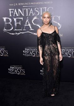Hot! or Hmm… Zoe Kravitz's Fantastic Beasts and Where to Find Them New York City Premiere Alexander McQueen Spring 2017 Black Sheer Embellished Web Lace Gown