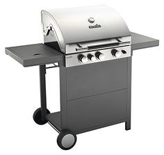 Char-Broil C34 - Conventional 3 Burner Gas Barbecue Grill with Side-Burner, Stainless Steel Finish.