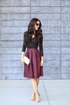 Girly glam. Creative professional and feminine. Cranberry brocade full skirt, black blouse, nude heels