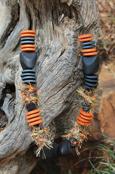 Textile Necklace , Fabric jewelry , Handmade beads , Ethnic jewelry , Beads from Africa , African style necklace , Rustic necklace