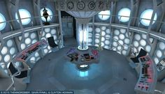 Imagine a new Tardis console room.with more of the round thingsn. Doctor Who Tv, First Doctor, Doctor Who Tardis, Doctor Who Bedroom, Painted Glass Bottles, Through Time And Space, Crazy Man, Police Box, Dalek