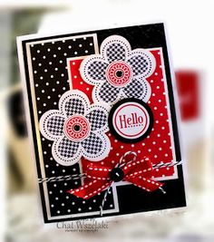handmade greeting card from Me, My Stamps and I ... black, white and red ... flowers ... luv the patterns ... polka dots and hounds tooth ... Stampin' Up!