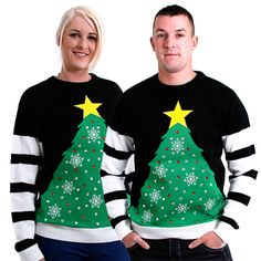 His and hers LED lighted Christmas Jumper