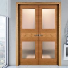 Sanrafael Lisa Glazed Double Door - Model K18VA2 Cherry Prefinished. #internaldoor #doubledoors #glazedfrenchdoors