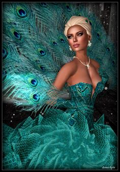 """""""Elissana"""" gown is the inspiration of Amutey DeCuir. Exotic skin fashioned into a figure hugging bodice, under skirt & elegant gloves paired with sculpted ruffles to form the gown skirt. The skirt is over 100 individual pieces. A backdrop of iridescent plumage fans out from the back to form a peacock train"""