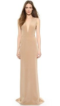 Kaufman Franco Backless Deep V Gown