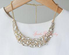Jeweled Bib Statement Necklace, Crystal Collar Necklace, Fashion Jewelry, Wedding Bridesmaid Necklace