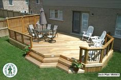This 336 square ft. deck was constructed in Oakville. The deck is enclosed at one end by a cedar privacy screen and at the other by cedar railings with Small Backyard Decks, Decks And Porches, Deck Building Plans, Deck Plans, Tiered Deck, Cedar Deck, Deck Builders, Backyard Patio Designs, Small Deck Designs