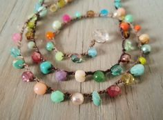 "Colorful crochet necklace ""RainBow Splash"" Multi colored semi precious stone & glass bohemian jewelry, red, aqua, boho chic"