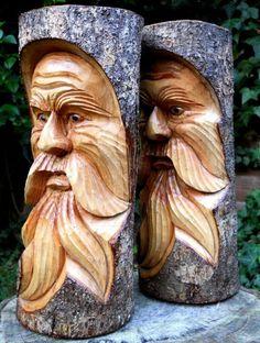 Carved Wooden Green Man Full Tree Trunk Stump Log Statue 30 cm Indoor Outdoor