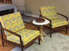 Mid-century modern chairs with new custom cushions!