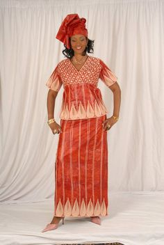 3 pc African cotton brocade top with wrapper by NewAfricanDesigns