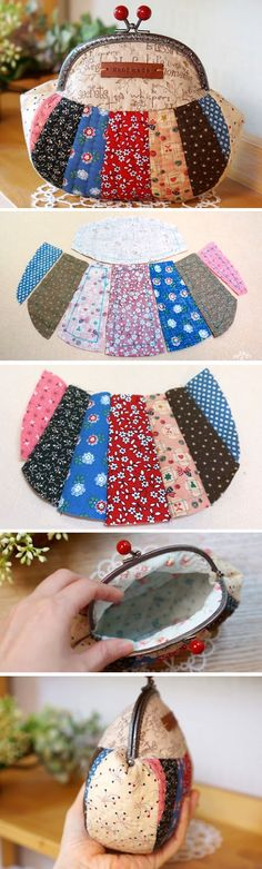 Snap Frame Patchwork Purse Pouch. Photo Tutorial. Step by step DIY.  http://www.handmadiya.com/2015/12/patchwork-purse-pouch.html