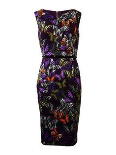 Ellen Tracy Women's Cap Sleeve V-Neck Butterfly Printed Sheath Dress, Purple Multi, 4