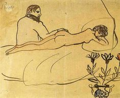 Nude with Picasso by her feet, 1903 by Pablo Picasso, Blue Period. Naïve Art (Primitivism). nude painting (nu). Museu Picasso, Barcelona, Spain