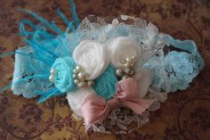 Baby Girl Headband Turquoise and Ivory Headband by AldonasBoutique,