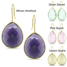 Miadora 22k Gold Overlay Synthetic Gemstone Earrings  @Overstock - These 22-karat yellow gold faux gemstone earrings will add a beautiful sparkle to any outfit. These earrings feature purple, yellow, green, and pink faux gemstones and complemented with a high polished finish. Their design is perfect for eveningwear.http://www.overstock.com/Jewelry-Watches/Miadora-22k-Gold-Overlay-Synthetic-Gemstone-Earrings/6514296/product.html?CID=214117 $37.99