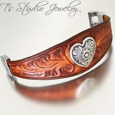 Hand Tooled Leather Cuff Bracelet with Heart Concho